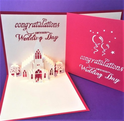Wedding Day Church pop up card