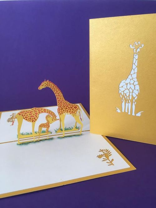 Giraffes pop up card