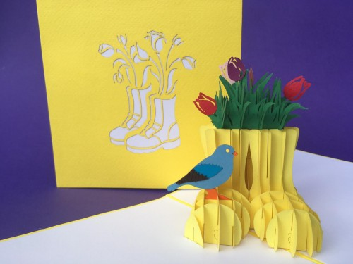 Flowers in boots pop up card
