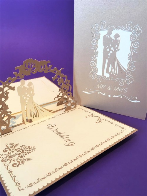 Large Gold Wedding Card pop up card