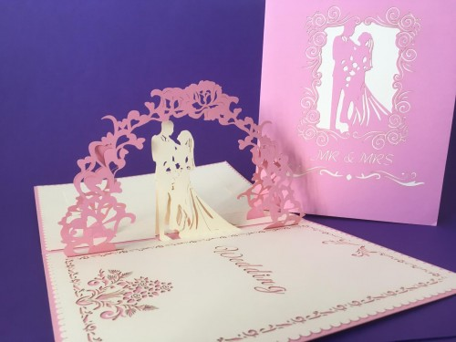 Large Pink Wedding Card pop up card