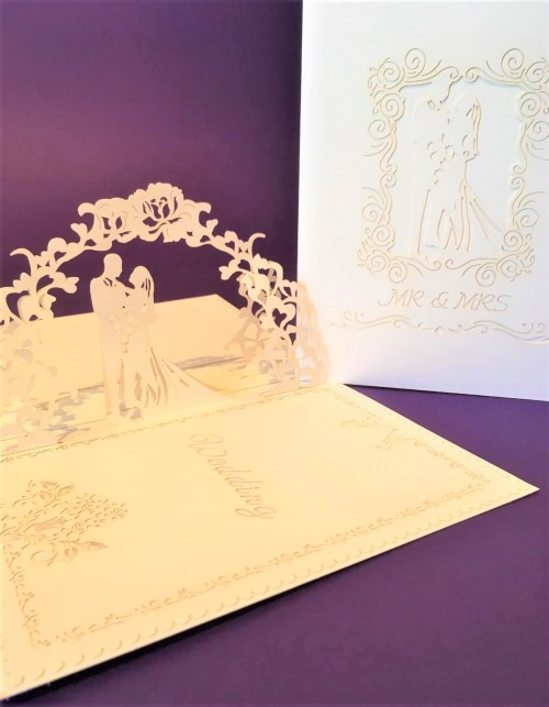 Large White Wedding Card pop up card