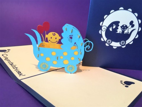 New Baby (blue) pop up card