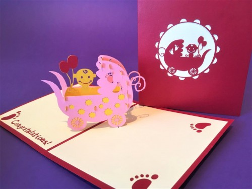 New Baby (pink) pop up card