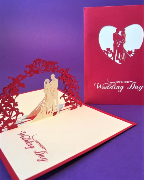 Small Red Wedding card pop up card