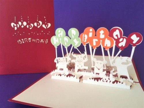 Birthday animals pop up card