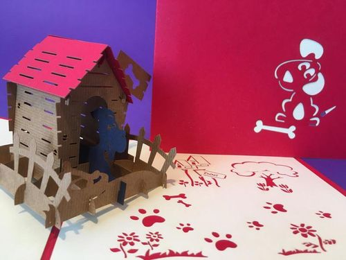 Dog in Kennel pop up card