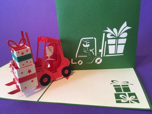 Santa's Forklift  pop up card