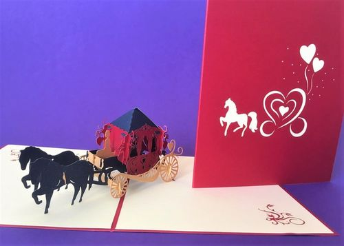 Horse and carriage pop up card