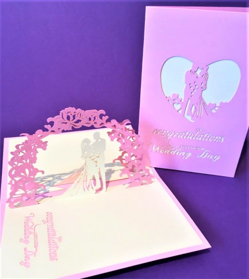 Small Pink Wedding card pop up card