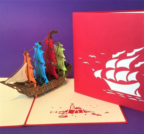 Pirate ship pop up card