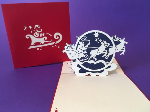 Santa's Sleigh pop up card