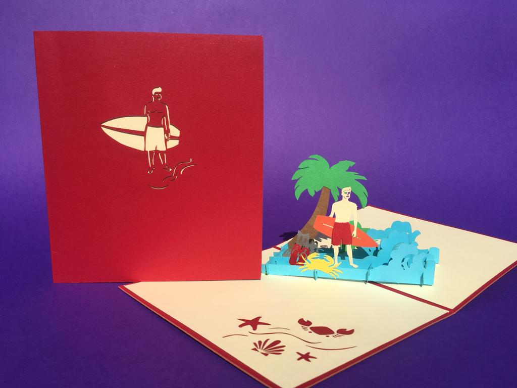 Surfer (male) pop up card